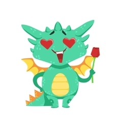 Little anime style baby dragon in love holding vector