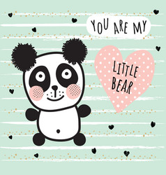 little panda bear vector image