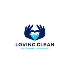 Love hand water clean cleaning logo icon vector