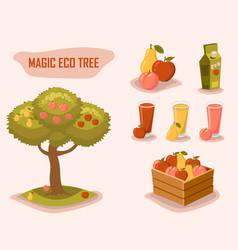 Magic eco tree gardening farm fresh retro style vector