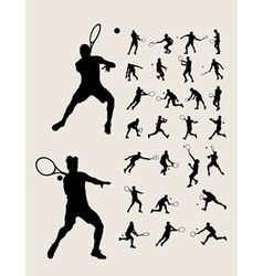 Man Tennis Silhouettes vector image