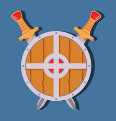 Medieval sword shield game weapon cartoonflat vector