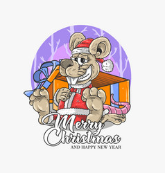 merry christmas and chinese new year vector image