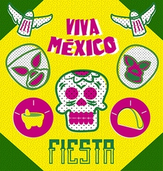 mexican design elements with neon colors vector image