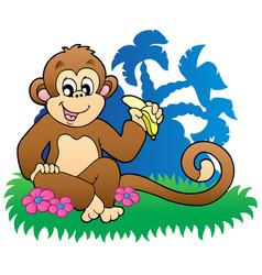 Monkey eating banana near palms vector
