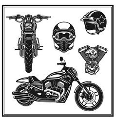 Motorcycle front view and side view engine vector