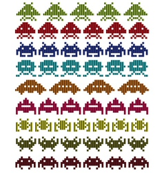 Multicolored space invaders vector