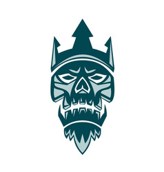 Neptune skull trident crown retro vector