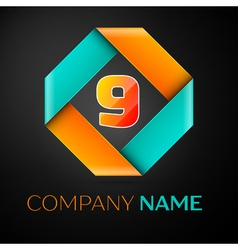 Number nine logo symbol in the colorful rhombus on vector image