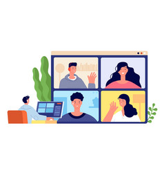 online conference young client meeting home vector image