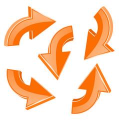 orange turning arrows 3d shiny icons set vector image