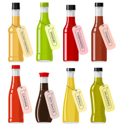 Oriental sauce kinds in glass transparent bottles vector