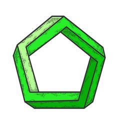 Penrose impossible pentagon sketch vector