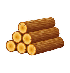 Pile logs stack trunks cutted trees vector