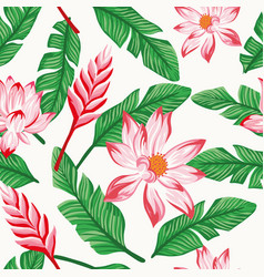 pink flowers green banana leaves seamless white vector image