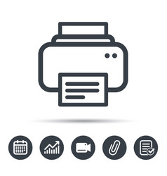 Printer icon print documents technology sign vector