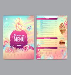 restaurant summer tropical gradient menu design vector image