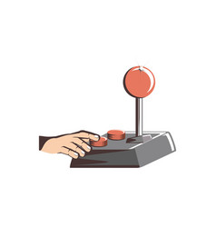 Retro joypad video game with hand vector