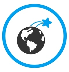 Rising Satellite On Earth Icon vector