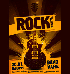 rock festival party flyer design with guitar vector image