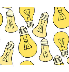 seamless texture with cartoon bulbs on a white vector image
