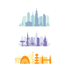 Set city buildings silhouettes cityscape in vector