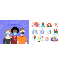 set coronavirus signs and symbols vector image