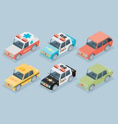 Set isometric cars vector
