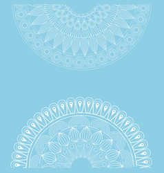 set mandala ottoman motifs round blue background vector image
