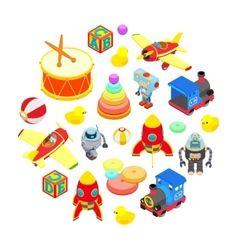 Set of isometric toys vector image