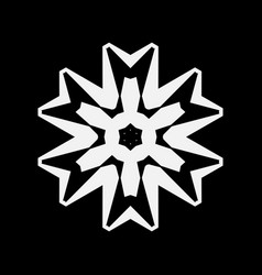 Simple white snowflake icon isolated on black vector
