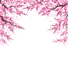 Spring background with plum blossom branches vector