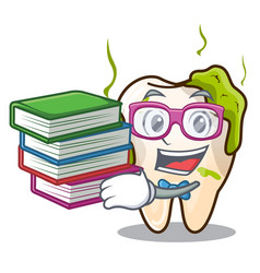Student with book cartoon decayed tooth with vector