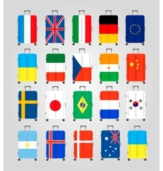 Suitcase icons set 20 Suitcases with flags vector image