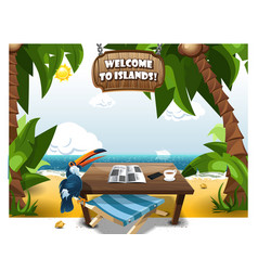 Summer scene on beach with table and chair vector