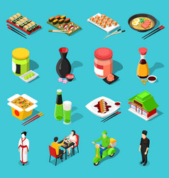 Sushi bar isometric icons vector