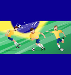 team brazil football soccer players vector image