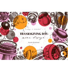 Thanksgiving day background menu template with vector