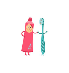 Toothbrush and toothpaste cartoon characters vector