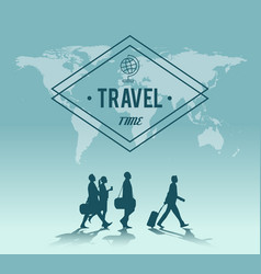 Travel time world map background vector