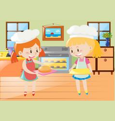 Two girls baking pie in kitchen vector