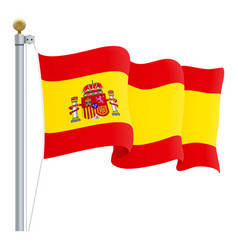 Waving spain flag isolated on a white background vector