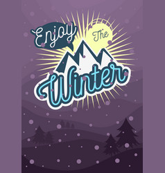 winter typographic poster flyer card cover design vector image