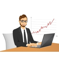 young hipster businessman with laptop vector image