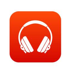 headphone icon digital red vector image