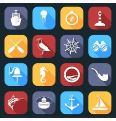 Nautical Icons Set Flat vector image vector image