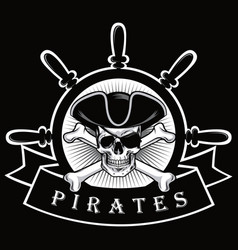 pirate skull with eyepatch and ship helm logo vector image vector image