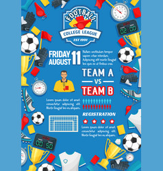 soccer sport game match poster of football league vector image vector image