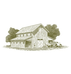 Woodcut Farm Work Scene vector image