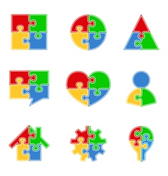 Abstract Puzzle Objects vector image vector image